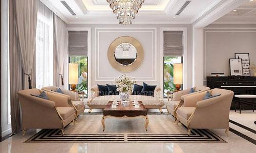 Thiết kế thi công nội thất phòng khách biệt thự Palm Garden
