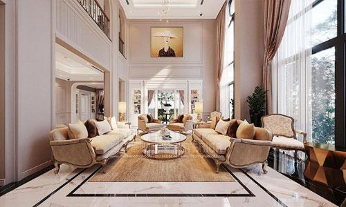 Thiết kế thi công nội thất phòng khách tại biệt thự Vinhomes Imperia Hải Phòng