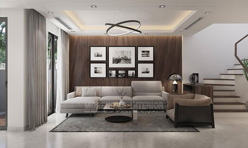 Thiết kế thi công phòng khách biệt thự liền kề Gamuda