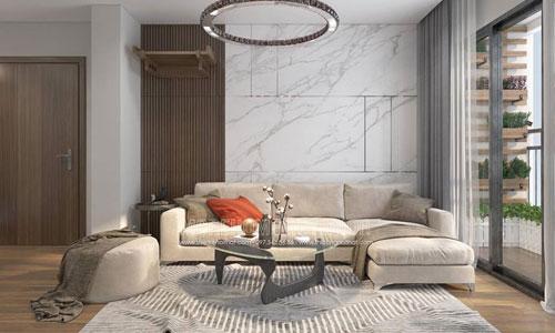 Thiết kế thi công nội thất phòng khách chung cư Liễu Giai