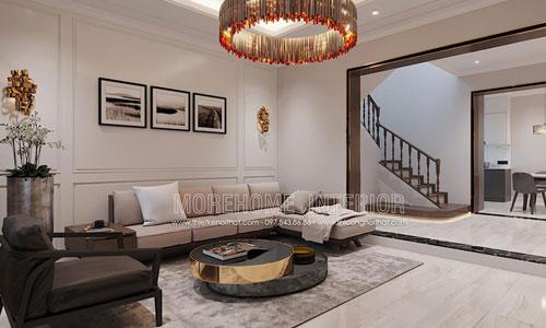 Thiết kế thi công nội thất phòng khách nhà phố Âu Cơ