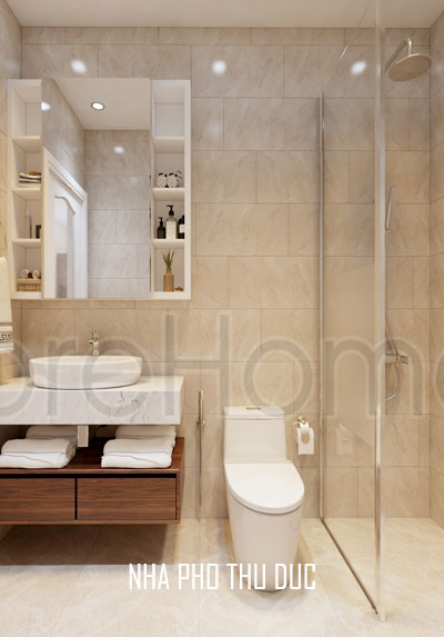 Thi công vách tắm kính phòng tắm nhà phố Thủ Đức